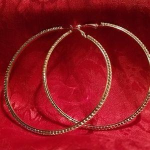 5 inch crystal hoops